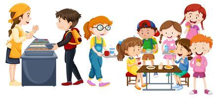 Kinder essen in der Cafeteria vektor