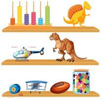 Leksaker på hyllan