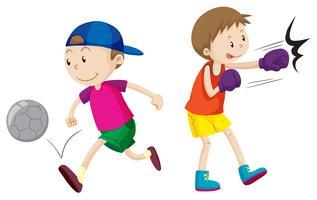 Junge, Fußball und Boxen spielen vektor