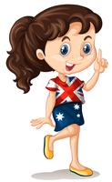 Australisk tjej pekar finger
