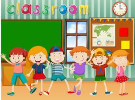 Många barn i klassrummet vektor