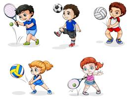 Fünf Jugendliche, die sich in verschiedenen Sportarten engagieren vektor
