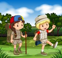 Pojke och tjej vandra i parken vektor