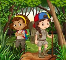 Flickor vandrar ut i skogen vektor