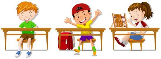 Pojkar och tjej sitter på sina skrivbord vektor