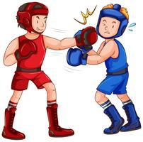 Boxare med huvudskydd och handskar