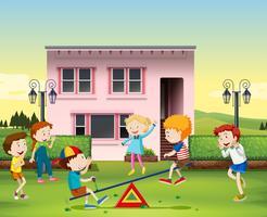 Barn som leker ser på parken vektor