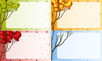 Grenzdesign mit Baum in verschiedenen Jahreszeiten vektor