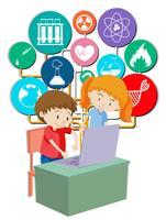 Jungen und Mädchen, die am Computer arbeiten vektor