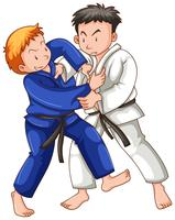 Två idrottare som spelar yudo