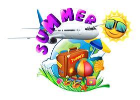 Eine Sommergrafik, die eine Urlaubsreise zeigt vektor