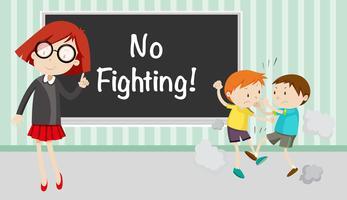Pojke kämpar framför inget slagsmål