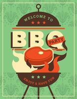 Retro BBQ affisch vektor