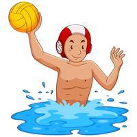 Mann, der Wasserball im Pool spielt