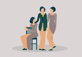Ung kvinna Kartini Bär Traditionell Kebaya Vektor Illustration