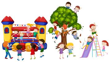 Kinder spielen auf dem Spielplatz