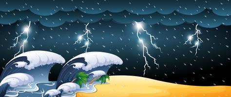 Tsunami-Szene mit Gewittern vektor