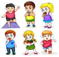 Sex feta människor vektor