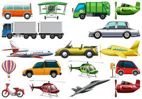 Set von Transportfahrzeug vektor