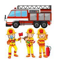 Set Feuerwehrmann und LKW vektor
