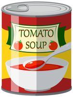 Tomatssoppa i aluminiumburk vektor