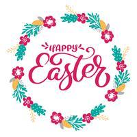 Handtecknad bokstäver Glad påskkrans med blommor, grenar och löv. vektor illustration. Design för bröllopsinbjudningar, hälsningskort