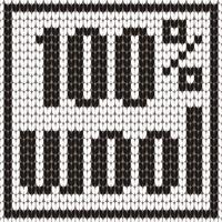Gestrickter Text. 100 Prozent Wolle. In schwarzen und weißen Farben. Vektor-Illustration