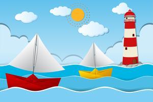 Zwei Papierboote, die in Meer segeln vektor