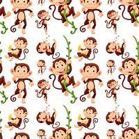 Nahtloser Affe in verschiedenen Aktionen vektor