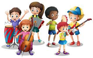 Barn i band spelar olika instrument vektor