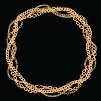Runder Rahmen aus verdrehten goldenen Ketten. Auf schwarz. Vektor-Illustration vektor