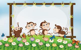 Rahmendesign mit vier Affen im Feld vektor