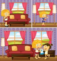Mädchen machen zu Hause verschiedene Sachen vektor
