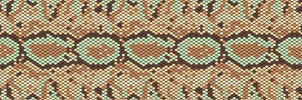 Snakeskin sömlöst mönster. Realistisk textur av orm eller annan reptilhud. Beige och bruna färger. Vektor illustration