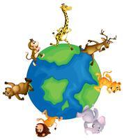 Wilde Tiere laufen um die Erde vektor