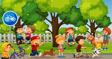 Parkplats med barn som leker och slåss vektor