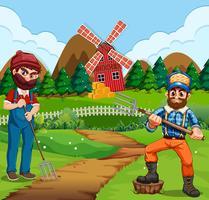 Jordbrukare som arbetar på gården