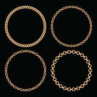 Set samling av runda ramar gjorda med gyllene kedjor. På svart. Vektor illustration
