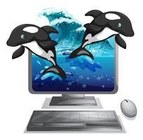 Zwei Delphine springen aus dem Computerbildschirm heraus vektor
