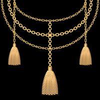 Hintergrund mit goldener metallischer Halskette. Quasten und Ketten. Auf schwarz. Vektor-Illustration