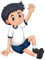 Liten pojke som har armen upp vektor