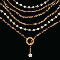 Hintergrund mit goldener metallischer Halskette der Birnen und der Ketten. Auf schwarz