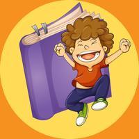Glad pojke hoppar med lila bok bakgrund