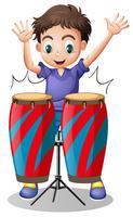 Kleiner Junge, der mit Trommeln spielt vektor