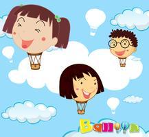 Ballonger med barn huvudet på himlen