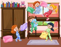 Flickor som har slumparti i sovrummet vektor