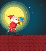 Weihnachtsmann und Geschenke vektor