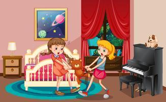 Två tjejer kämpar i sovrummet