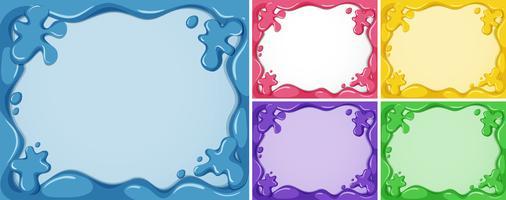 Fünf Rahmenvorlagen in verschiedenen Farben vektor