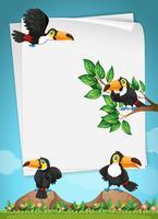 Pappersdesign med toucansflygning vektor